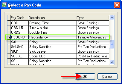 Add Redundancy Pay Code