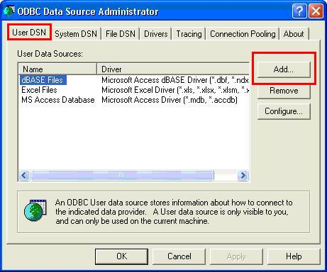 ODBC Data Source Administrator window with User DSN tab highlighted