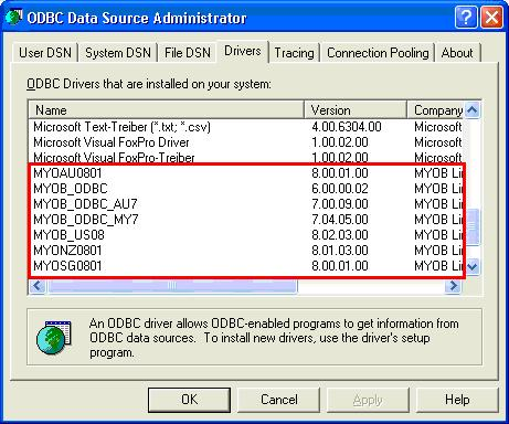 ODBC Data Source Administrator window with drivers highlighted
