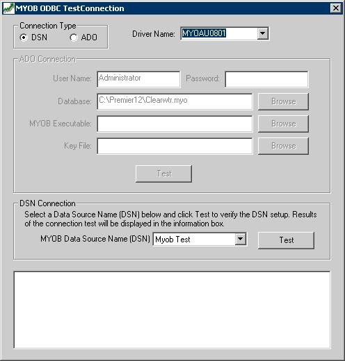 MYOB ODBC TestConnection window