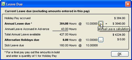 Annual Leave Calculation ellipse