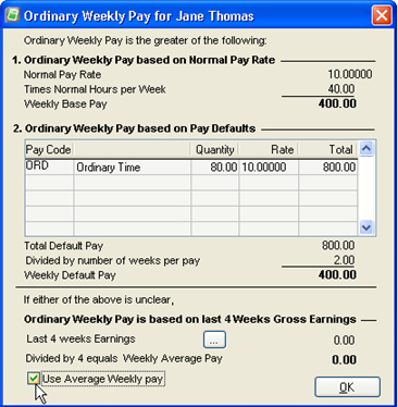 Tick Use Average Weekly pay