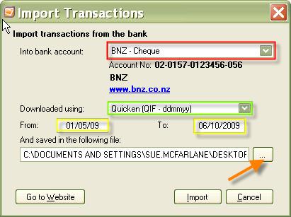 Importing bank transactions - Support Notes: MYOB Cashbook - MYOB
