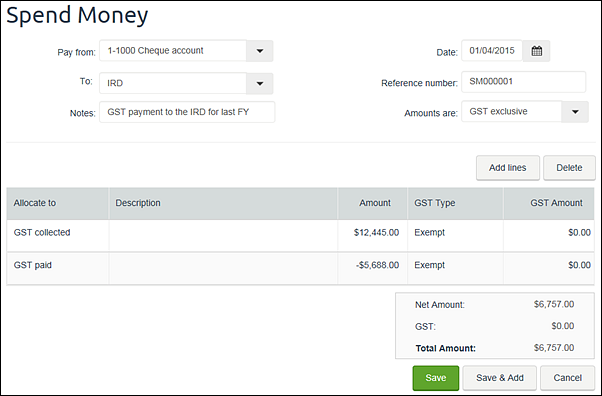 Example spend money transaction containing GST paid and collected