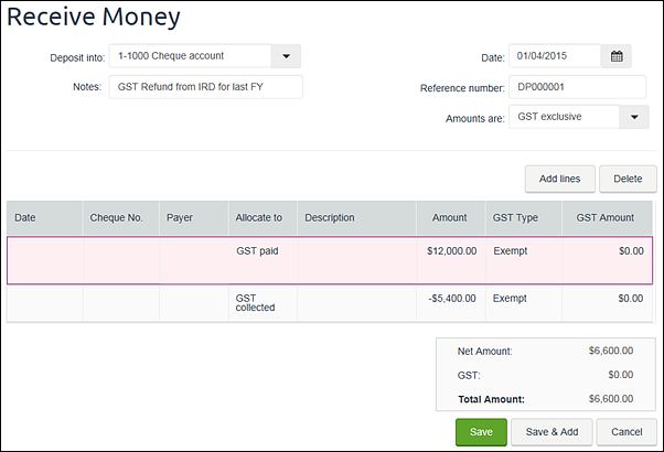 Example receive money transaction containing GST paid and collected