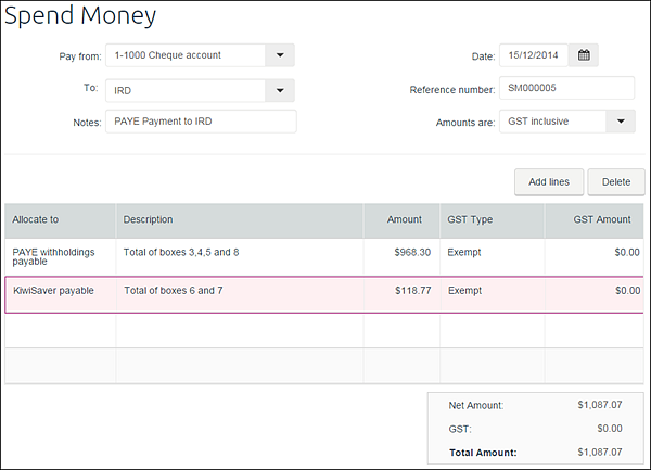 Example spend money transaction showing PAYE and kiwisaver payable