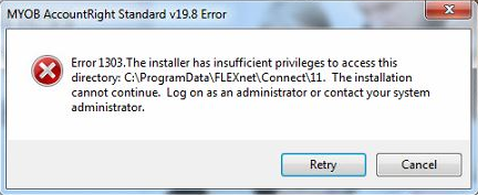 Example error 1303