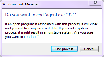 Task manager confirmation prompt
