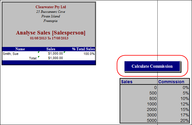 sheet in excel with calculate commission button highlighted