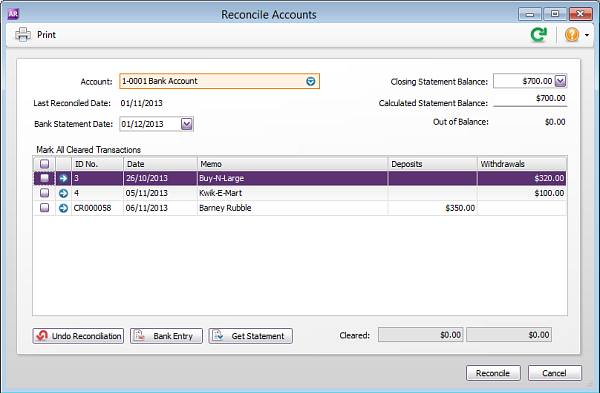 Reconcile accounts window with no out of balance