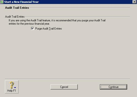 Start a new financial year window with purge audit trail entries option selected