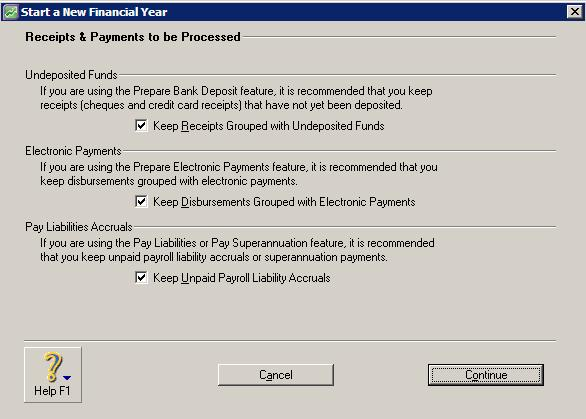 Receipts and payments to be processed window with all 3 options selected