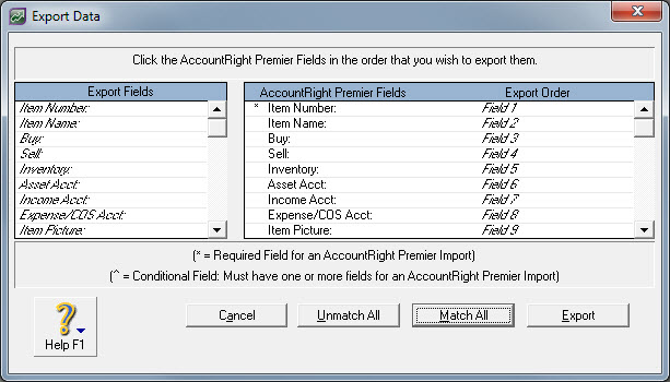 Export data window with all fields matched