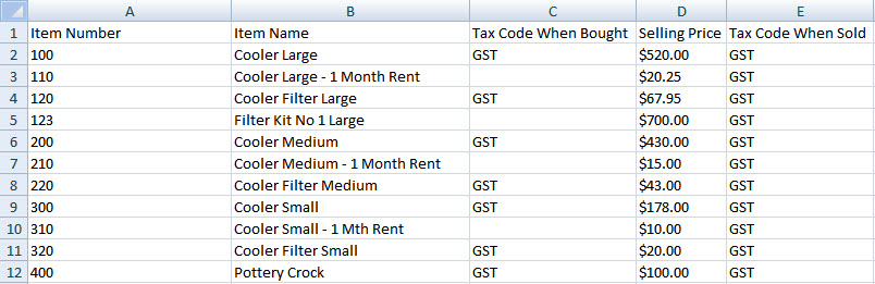 Item fields as columns in excel