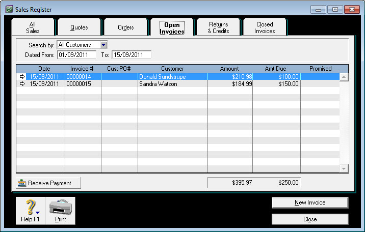 Template For Invoice For Services Rendered Pdf Setting Opening Debtor Balances In Retailmanager  Support Notes  Receipt Books Custom Excel with Commercial Invoice Fedex Word Click The Open Invoices Tab To View Your Open Invoices See Our Example  Below Quickbooks Invoice Template Excel Pdf