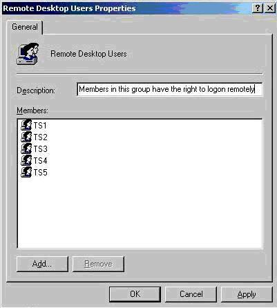 Remote Desktop Users Properties window