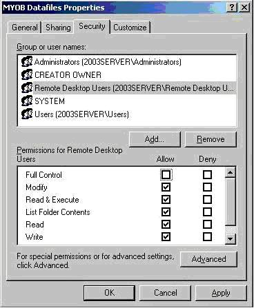 MYOB Datafiles Properties window
