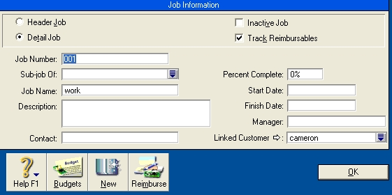 Job information window with track reimbursables option selected