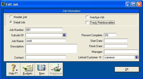 Job information window with track reimbursables option deselected