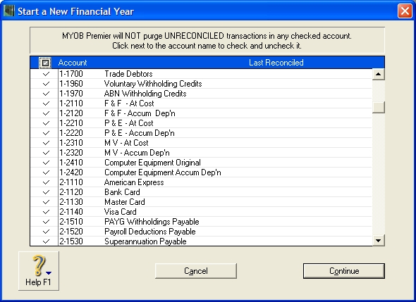 Start a new financial year window with all accounts selected