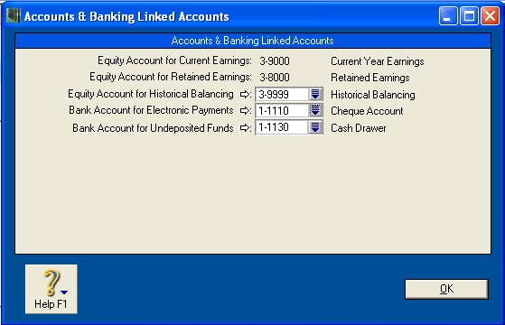 Linked accounts window with wrong account selected for electronic payments