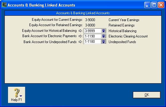 Linked accounts window with correct account selected for electronic payments