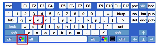 keyboard with windows and e keys highlighted